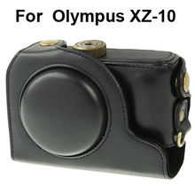 Leather Camera Case Bag with Strap for Olympus XZ-10