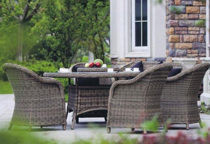 2014 nouveau Design 4 personnes siège durable extérieure ikea meubles en osier