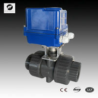 2 way PVC 2 inches Double Union motorized ball valve AC24V 220V 100N.m with manual override socket ends