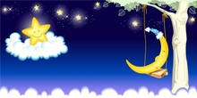 little star and moon peaceful picture wallpaper for kids room/children rooms wall paper decoration