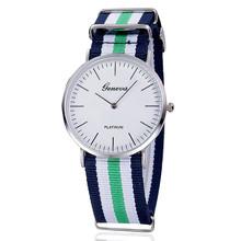 Geneva Geneva simple calibrated dial fashion slim men's striped nylon belt spot wholesale watches