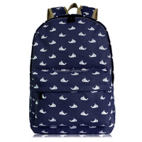 Cute lovely whales printing school bag for girls