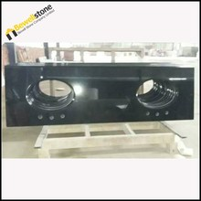 Double Sink Absolute Black Granite Pre Cut Granite Bathroom Countertops
