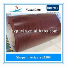 Wood2801 grain design ppgi/color coated steel coil for wall panel and decorating the house made in China