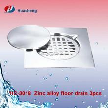 Zinc alloy floor drain strainer 3pcs