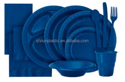 Wholesale Disposable navy blue plastic tableware with high quality for Christmas party