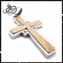 Hot sale Christian gold plated products wholesale stainless steel cross pendant