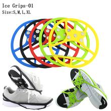 2015 más nuevas raquetas de nieve picos de hielo elásticas populares con seguridad antideslizantes <span class=keywords><strong>crampones</strong></span> hielo apretones de