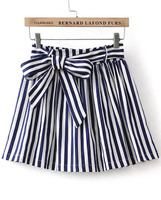 Skirts Bottoms fashion women girl clothes Blue Bow Striped Skirt