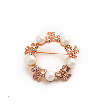 2015 New Arrival Pink Flower Fashion Pearl Charm Brooch