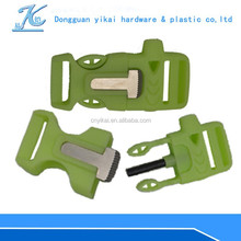 """3/4"""" inch fire starter,dual side release buckle,whistle camping buckle glow in the dark"""