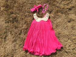 baby girls dress hot pink dress with matching headband and chunky necklace set