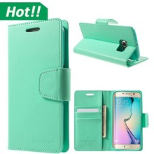 Flip wallet leather cover case ,for Samsung galaxy S6 edge case,galaxy S6 case