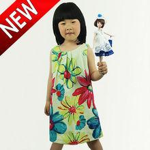 Ropa de 2013 del verano falda de las muchachas del chaleco del algodón vestido de flores pintura print vestido de las muchachas
