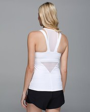 running in the city with high quality mesh decorations SUPPLEX nylon spandex women sport top