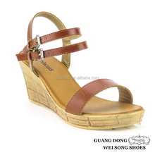 PVC outsole summer for women ankle double strap buckles slingback 2015 wedge sandal