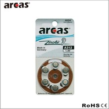 made in Germany;Hearing aid batteries-6Pk A312 zinc air battery
