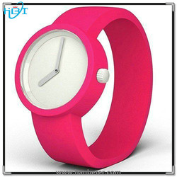 Super quality alloy case & colorful soft silicone strap bracelet watch water resistant