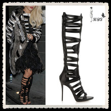 Brand Designer High Heel Knee High Gladiator Long Boot Women 2015