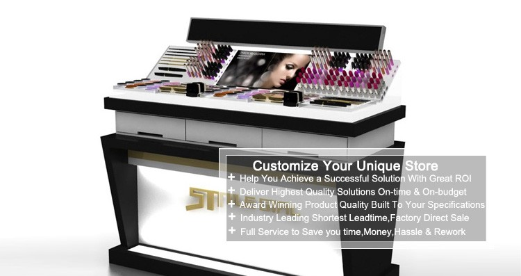 Wooden Black Acrylic Cosmetic Display Counter