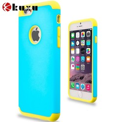 custom blank Yellow & Baby Blue Hybrid Slim Hard Soft Rubber Impact Protector Case Cover for Apple iPhone 6 Plus