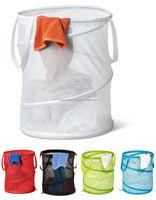 Fashion Foldable Mesh Washing Bin Pop Up Basket Bag Clothes Hamper Laundry Bag