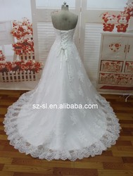 High Quality Wedding Dresses A-line Sweetheart Beaded Appliqued Backless Lace Floor Length Custom Made Bridal Gown SL-020631