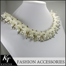 2015 New Arrival Chunky Rhinestone Gold Bead Necklace Collar Necklace