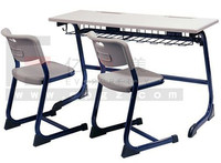 Classroom Furniture Double Desk with Two Chairs, Modern Desk Set for School Student