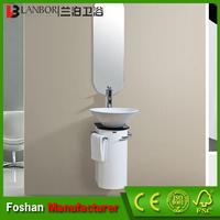Small thin PVC bathroom corner cabinet white FS014W