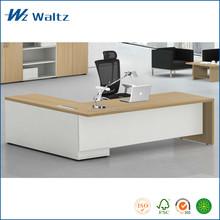 Hot sale L shape melamine furniture table, E0 grade MFC manager executive desk
