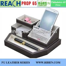 PU leather desktop multi purpose box pen holder, namecard holder, phone holder