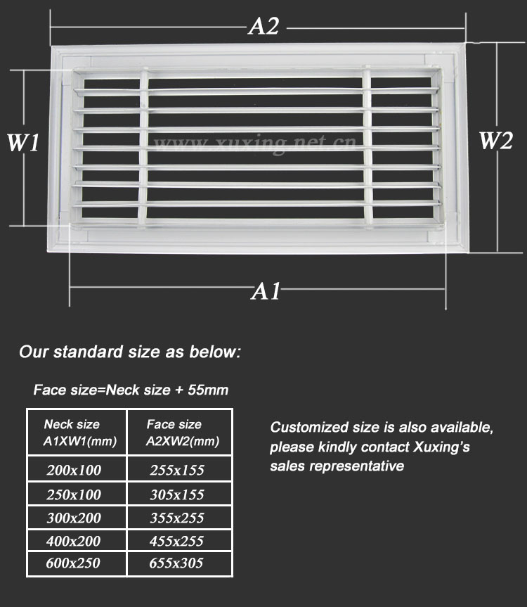 Air conditioning linear grilles diffusers decorative grill