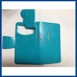 Leather PU Flip Cell Phone Cases for Universal Mobile Phone Card slots Suction Cup Case