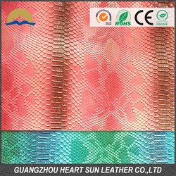 Artificial Snake Skin PU Leather for Bags