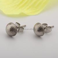 316l stainless steel half round matte ball 8mm earrings stud girls/female jewelry