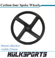 carbon four spoke rim 700c carbon fiber rim rear wheel 46mm clincher 4 spoke wheel single item