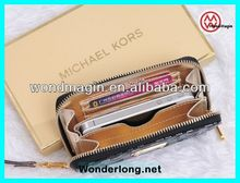 Wallet Luxury Fashion MK zipper genuine leather case for Samsung i9300,i9500, for iPhone 4/4s,5 with retailed package