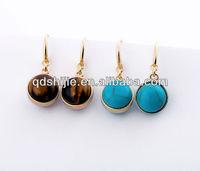 Round Opal Posts Drop Earrings