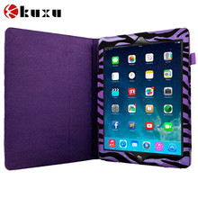 Custom Purple Zebra Folio Pouch Flip Case Cover Stand for Apple iPad Air