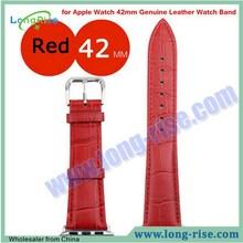 Luxury Crocodile Pattern Watch Strap for Apple Watch 42mm Genuine Leather Watch Band