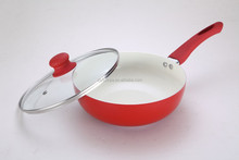 Aluminum Ceramic Wok with Silicon Hanlde