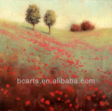 Handmade Tuscan landscape painting of red flowers, on canvas oil painting