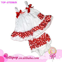 2015 Hot sale 2 piece polka dots swing top set for girls wholesale white cotton in stock