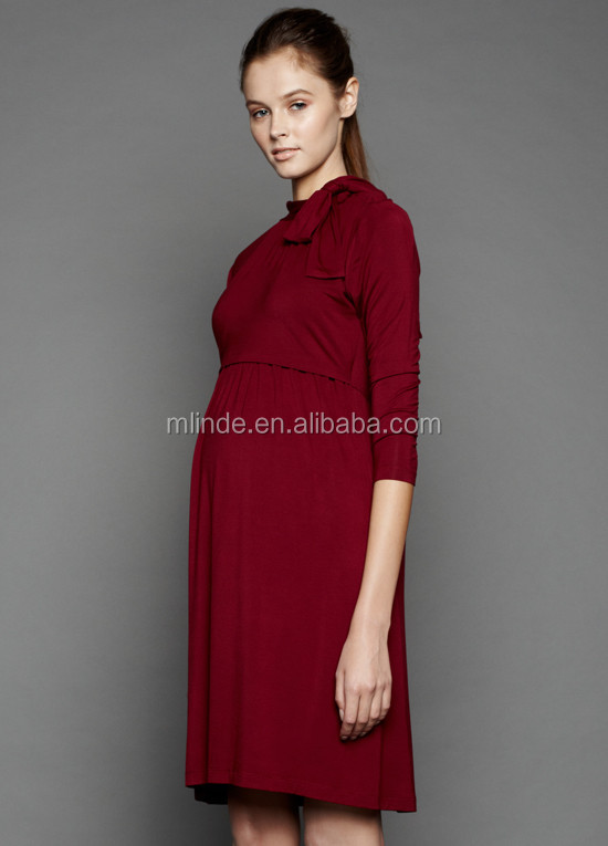 Plus Size Women Clothing Nursing Dress 34 Sleeves Side Ties Snap