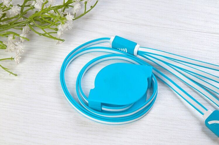 4 в 1 TPE выдвижной плоский многофункциональный мобильный телефон usb кабель для зарядки
