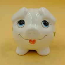 children gift big eyes pig shape ceramic coin bank