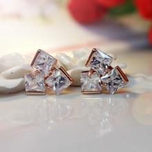 18 k gold luxury high-grade copper zircon earrings OL temperament elegant crystal stud earrings