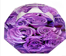Promotional gift cheap color crystal ashtray