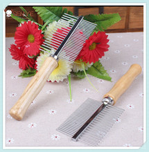 Dog Pet Double Row Stainless Steel Comb with wooden handle